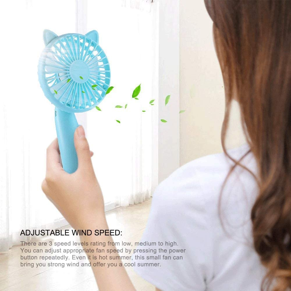 Color : Blue TRDyj Mini Fan Personal Handheld USB Charging Dual-use 3 Speed Fan Creative Portable Portable Small Fan Office Outdoor Travel