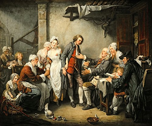 THE VILLAGE BRIDE MARRIAGE FOR LOVE NOT MONEY 1761 PAINTING BY JEAN BAPTISTE GREUZE LARGE CANVAS REPRO