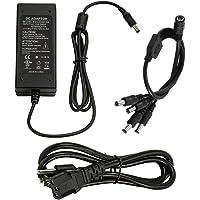 InstallerCCTV Adaptador de alimentación de 12 V 5 A con cable divisor de 4 vías para cámaras de seguridad, cable de…