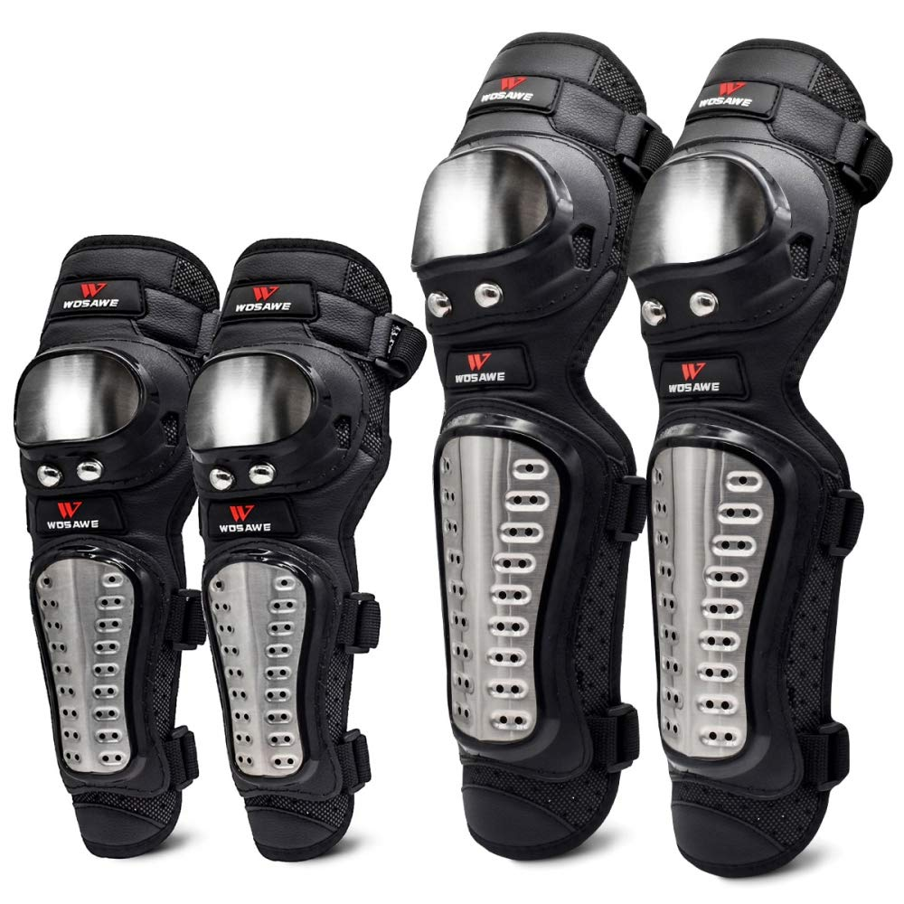 Beetle LLC - 4Pcs/Set Elbow and Knee Pads Stainless Steel Motorcycle Motocross Protective Gear Protector Guards Sports Armor Kit