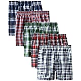 Hanes Men's 5-Pack FreshIQ Tartan Boxer with Inside Exposed Waistband, Multi, Medium