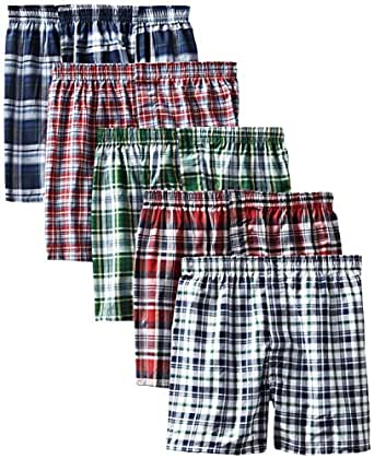 Hanes Men's 5-Pack FreshIQ Tartan Boxer with Inside Exposed Waistband, Multi, Small