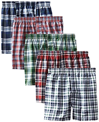 Comfort Boxer Shorts - Hanes Men's 5-Pack Tartan Boxer with Inside Exposed Waistband, Multi, X-Large