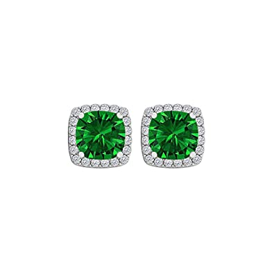 5efc2f31f6119 Amazon.com: CZ Emerald Square Halo Stud Earrings Sterling Silver ...