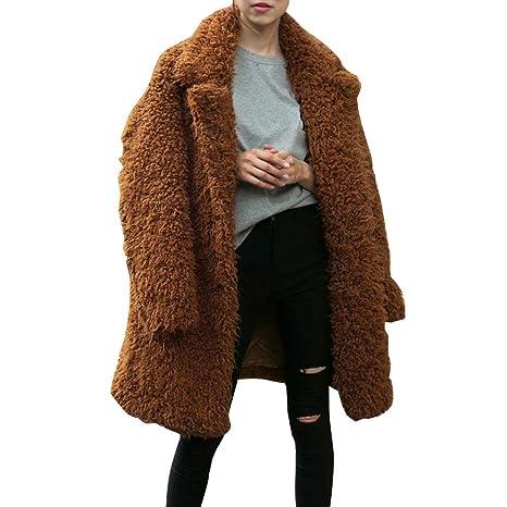 Saihui_Women Coats & Jackets Abrigos de Piel sintética para Mujer, de Color sólido, de