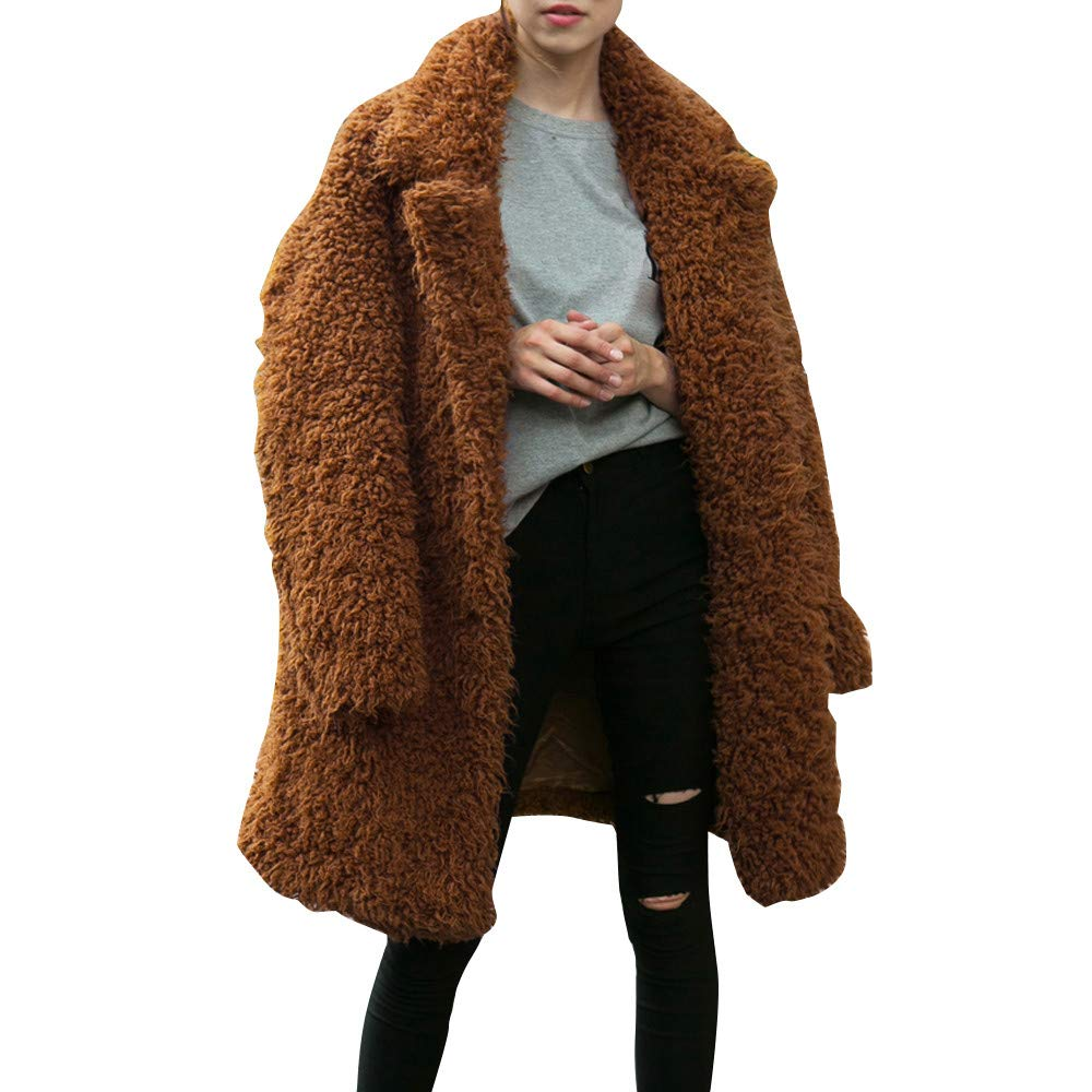 Dainzuy Ladies Sexy Casual Coat,Women Warm Loose Oversized Long Jacket Overcoat Coat Outwear