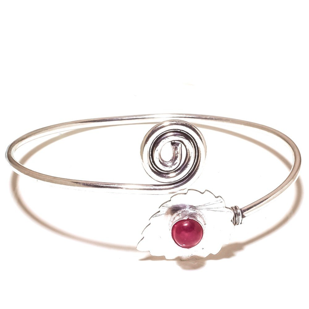 Red Dyed Ruby Sterling Silver Overlay 12 Grams Brangle//Bracelet Free Size Gift Jewelry