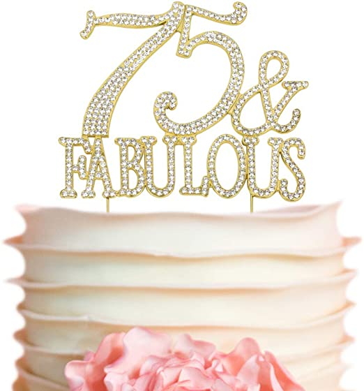 Sensational Amazon Com Premium Metal 75 And Fabulous Rhinestone Gem Cake Funny Birthday Cards Online Elaedamsfinfo