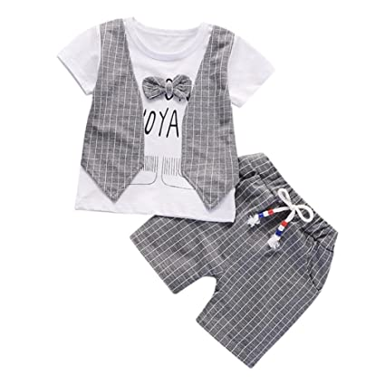 1062c59ca Kid Sets, Neartime 2018 2Pcs Baby Boys Letter Print Bow Plaid Tops+Pants  Outfits O-Neck Short Clothes Set (6M, Gray): 💎Brand-Neartime💎