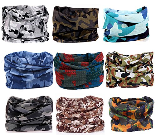 KALILY 9PCS Headband Bandana - Versatile CAMOUFLAGE Sports Headwear –Multifunctional Seamless Neck Gaiter, Headwrap, Balaclava, Helmet Liner, Face Mask for Camping, Running, Hunting, Fishing etc
