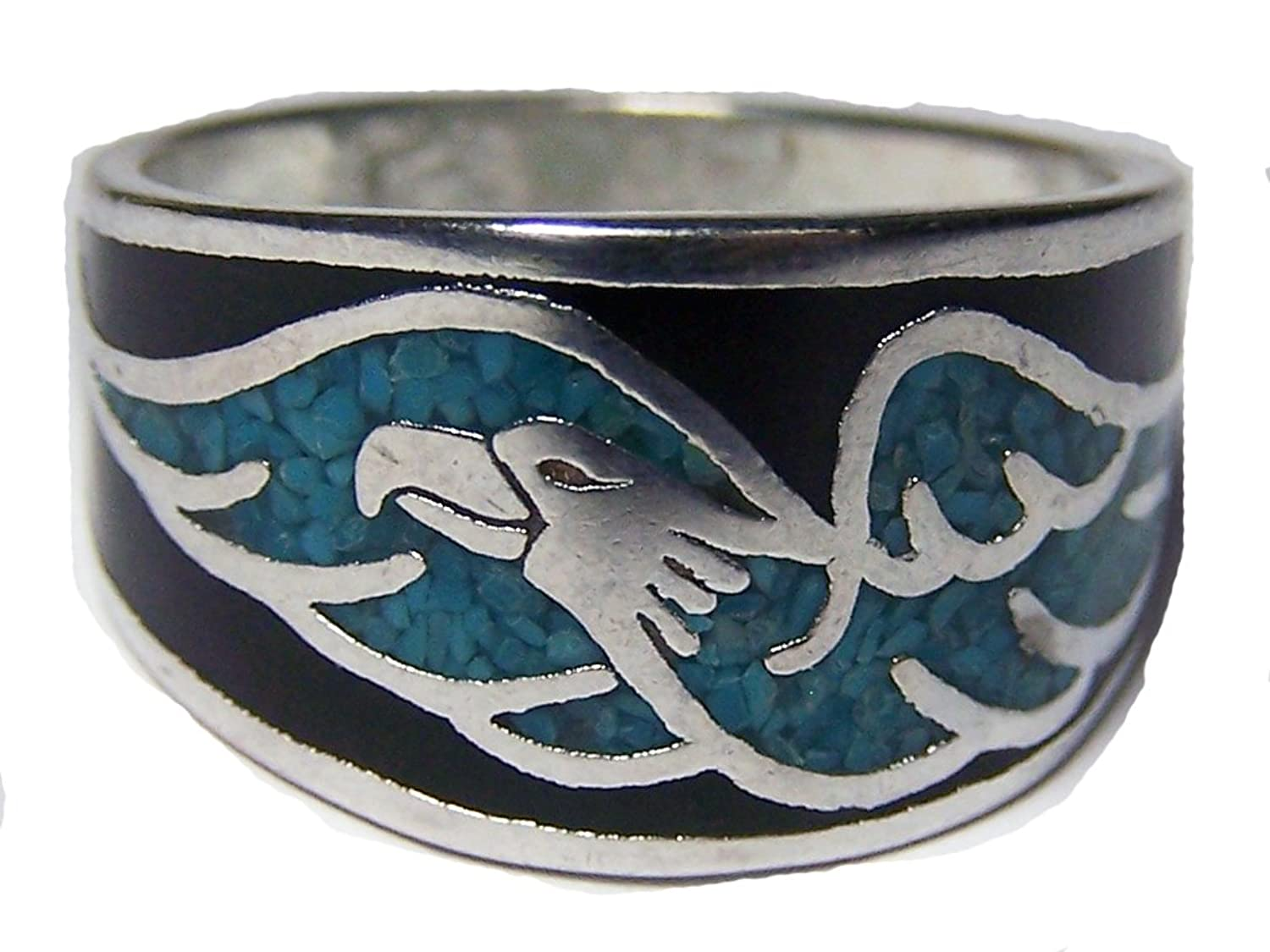 FLYING EAGLE TURQUOISE SILVER MENS OR WOMENS DELUXE BIKER BAND RING SIZE 8
