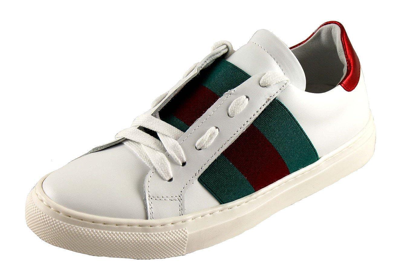 A&M Schuhe Damenschuhe schuhe Turnschuhe Leder Made in  1320 Weiß-Grün