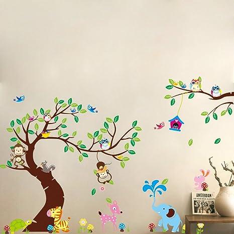 Wandtattoo Wandsticker Kinderzimmer Kind Baby Wald Baum Tiere DDS11