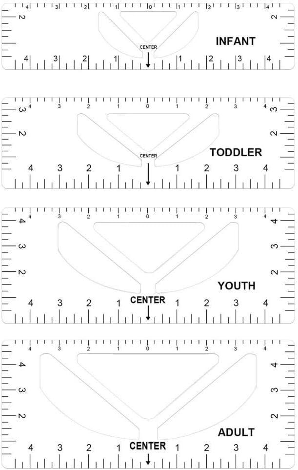 T 셔츠 통치자 가이드 정렬 눈금자 4 팩 티셔츠 측정 통치자 가이드 도구 만들기 패션 바느질 센터 디자인 직물 절단 퀼팅 바느질 공예