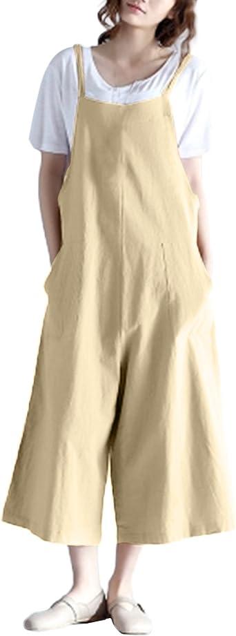 StyleDome Mujer Chicas Peto Largo Casual Elegante Algod/ón Suelto Moda Bolsillos Tiras Fiesta Caqui EU 42