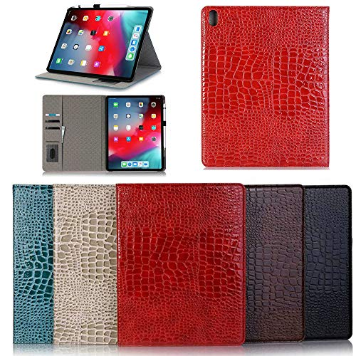 Crocodile Leather Case for iPad Pro 12.9 2018(3rd Generation)/Pro 11 inch, Flip Folio Business Alligator Smart Cover with Pencil &Card Holder [Support Pencil Charging] (iPad Pro 11, Black)