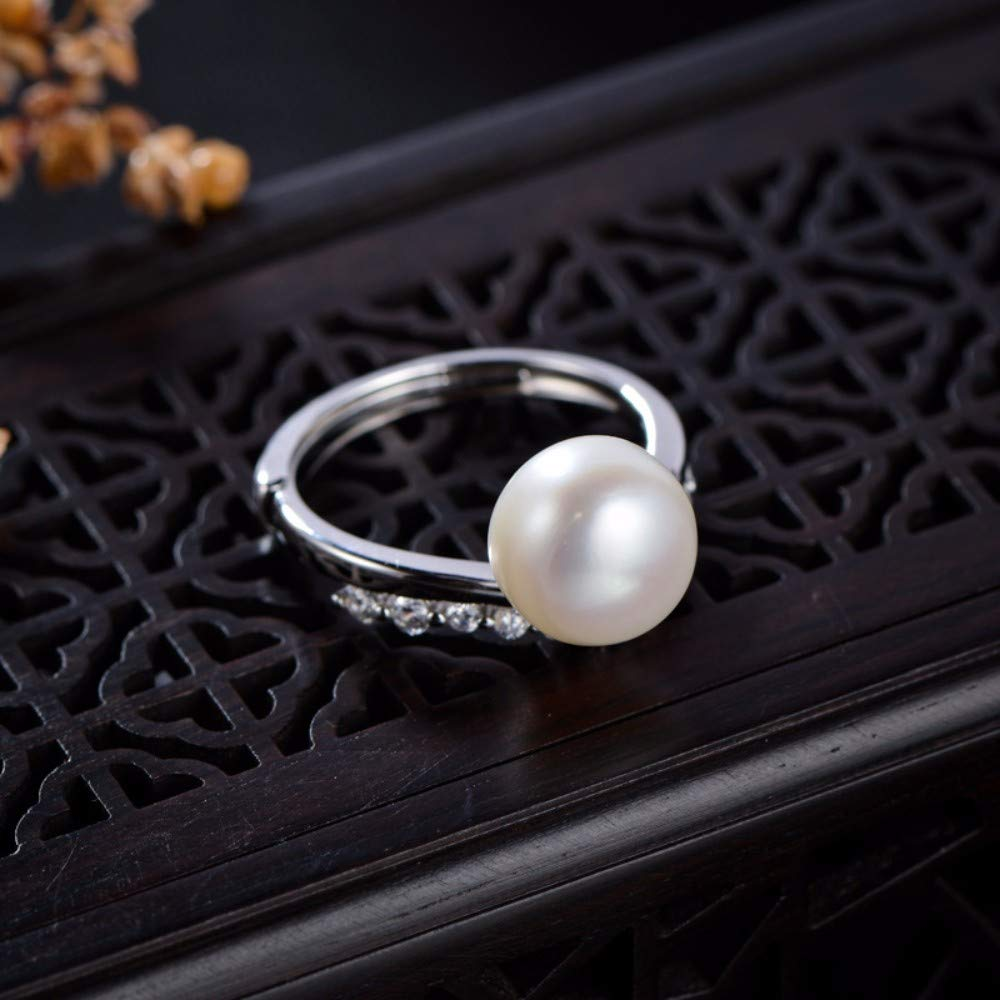 THTHT Vintage S925 Silver Ring Womens Opening Round Pearl Fashion Creative Gift Personality