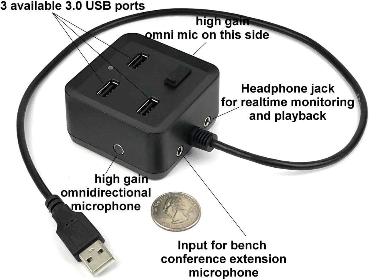 sp-hub-mic-pro – Court Reporting High GainミニチュアUSB全方向性マイク/ヘッドホンアンプwithノイズフィルタと3ポートUSBハブ内蔵