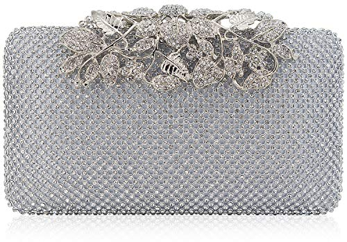 Womens Evening Bag with Flower Closure Rhinestone Crystal Clutch Purse for Wedding Party ()