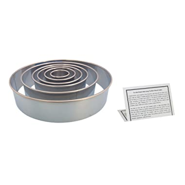 """Ateco Round Pastry Cutter Set, Stainless Steel 8"""", 6"""", 4.5"""", 3.5"""", 2.5"""", 1.5 In. Kitchen Tools With Information Card"""