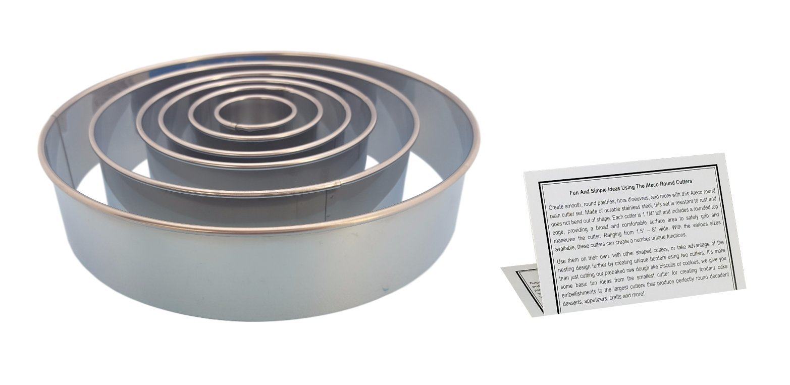 Ateco Round Pastry Cutter Set, Stainless Steel 8'', 6'', 4.5'', 3.5'', 2.5'', 1.5 In. Kitchen Tools With Information Card