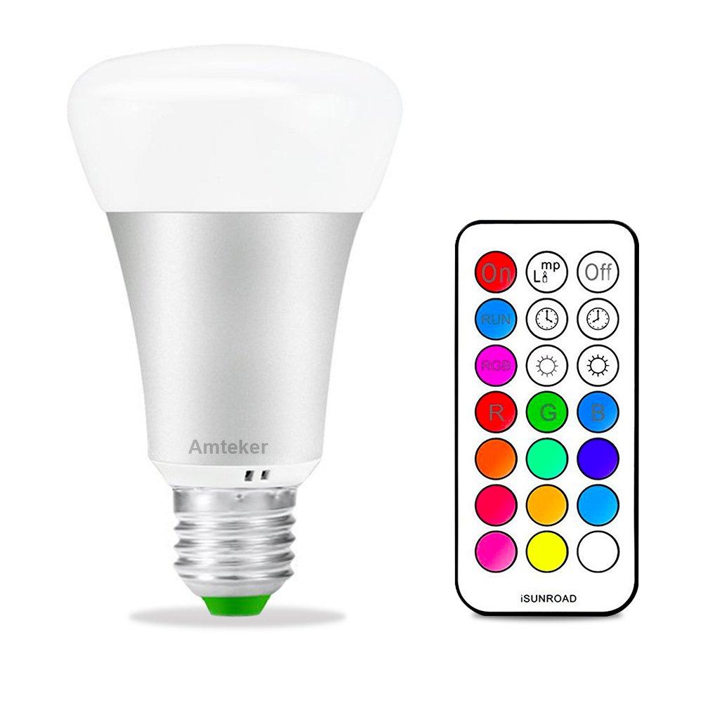 Amteker RGBW Lampadina LED con 21 Chiave del Telecomando - 10W E27 Della Luce di Notte - 12 Colori Multipli Lampadina Dimmerabile Luce - 330 Lampada LED Grado