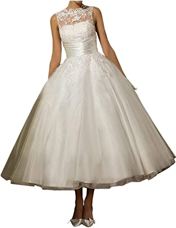 2020 See Though Back Tea length Bridesmaid Dress Short Wedding Gown Size 6 8 10