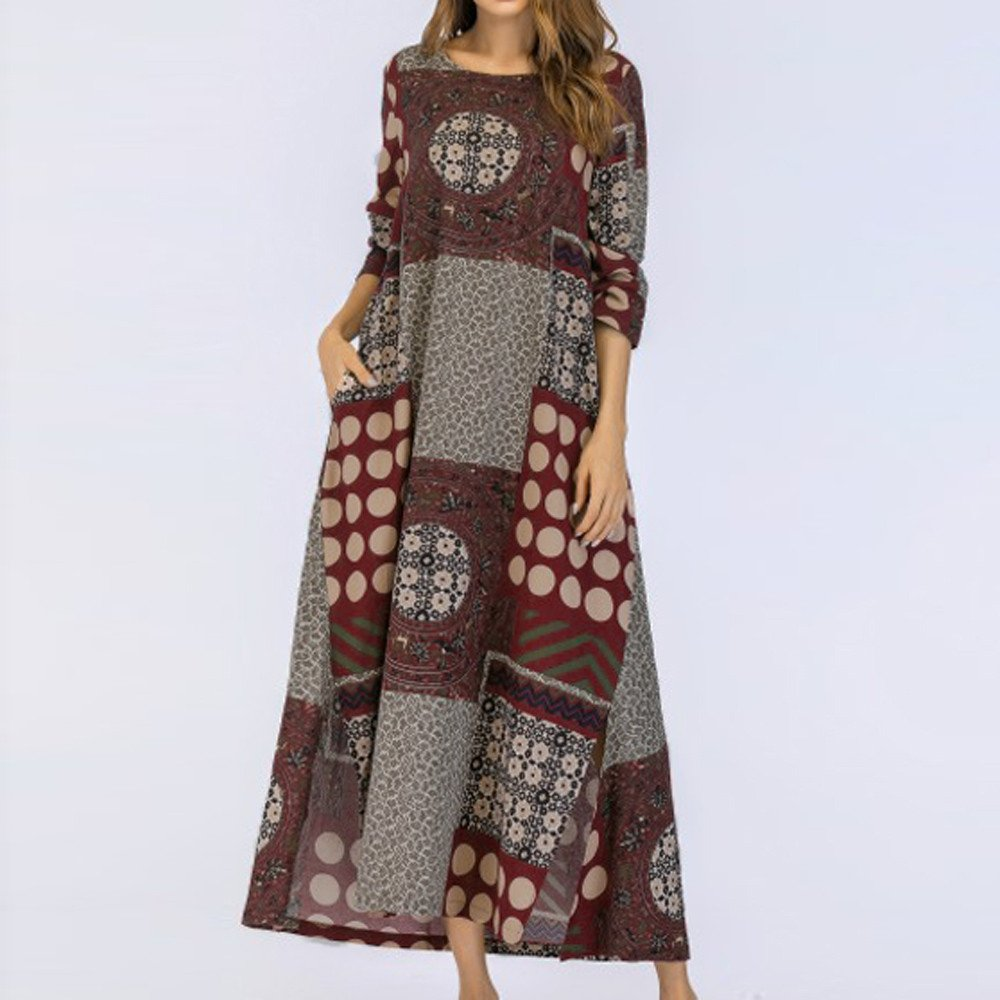 Frauen Mode Vintage Lose Beiläufig Baumwolle und Leinen Hosenträger Sommerkleid