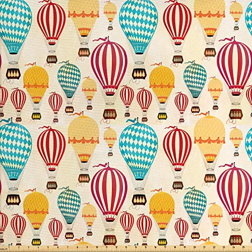- Lunarable Colorful Fabric by The Yard, Hot Air Balloons with Geometric Rhombus and Stripe Motifs Vintage Travel Pattern, Decorative Fabric for Upholstery and Home Accents, 1 Yard, Multicolor