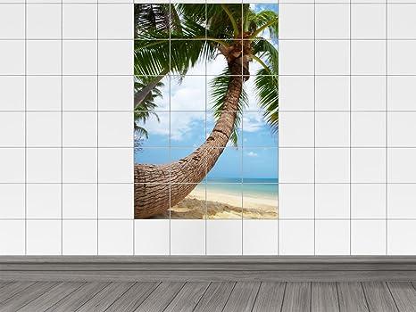 Piastrelle adesivo piastrelle immagine palme con vista mare bagno
