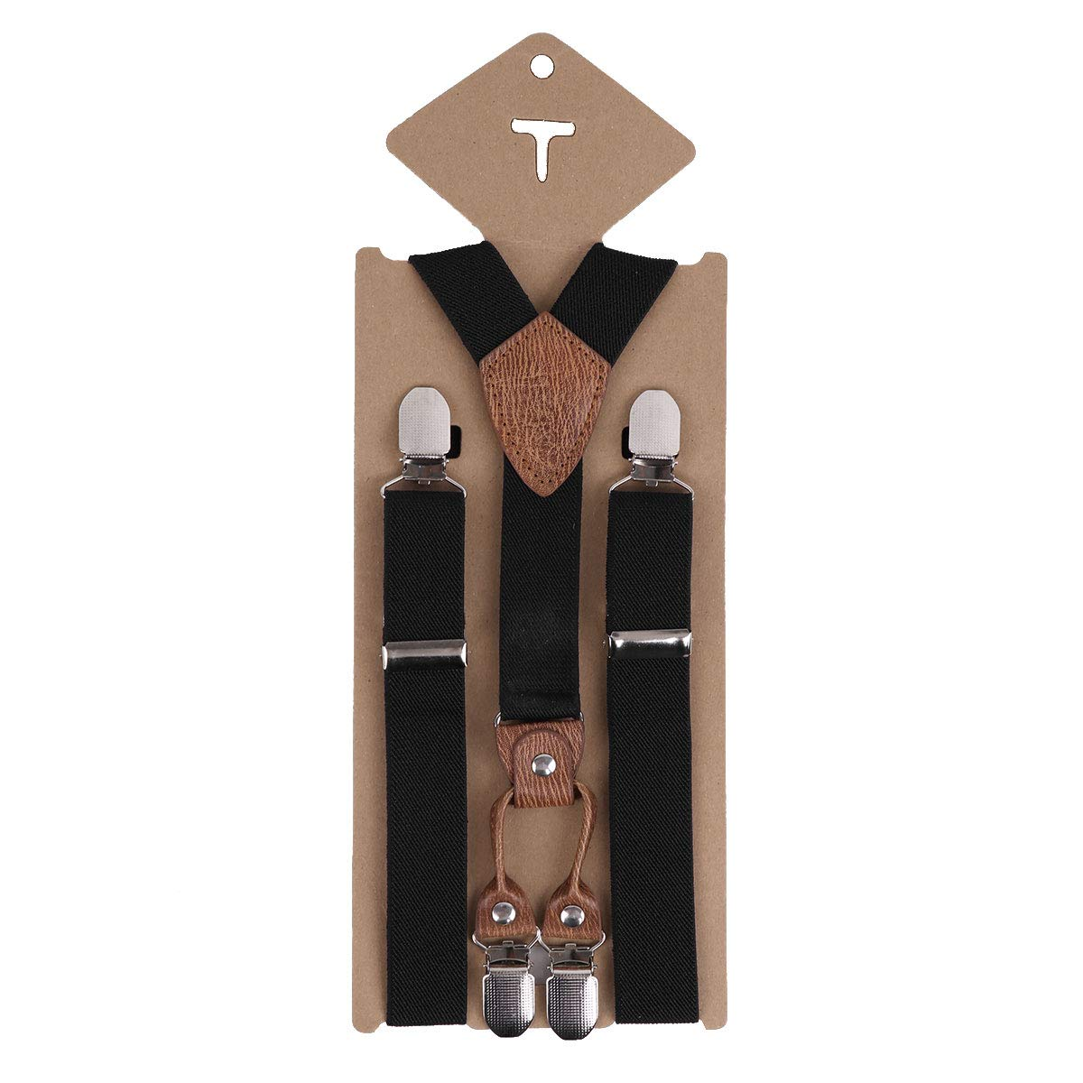 dPois Kids Boys Girls Adjustable Y Back Elastic Heavy Duty Suspenders Tuxedo Accessory with 4 Metal Clips