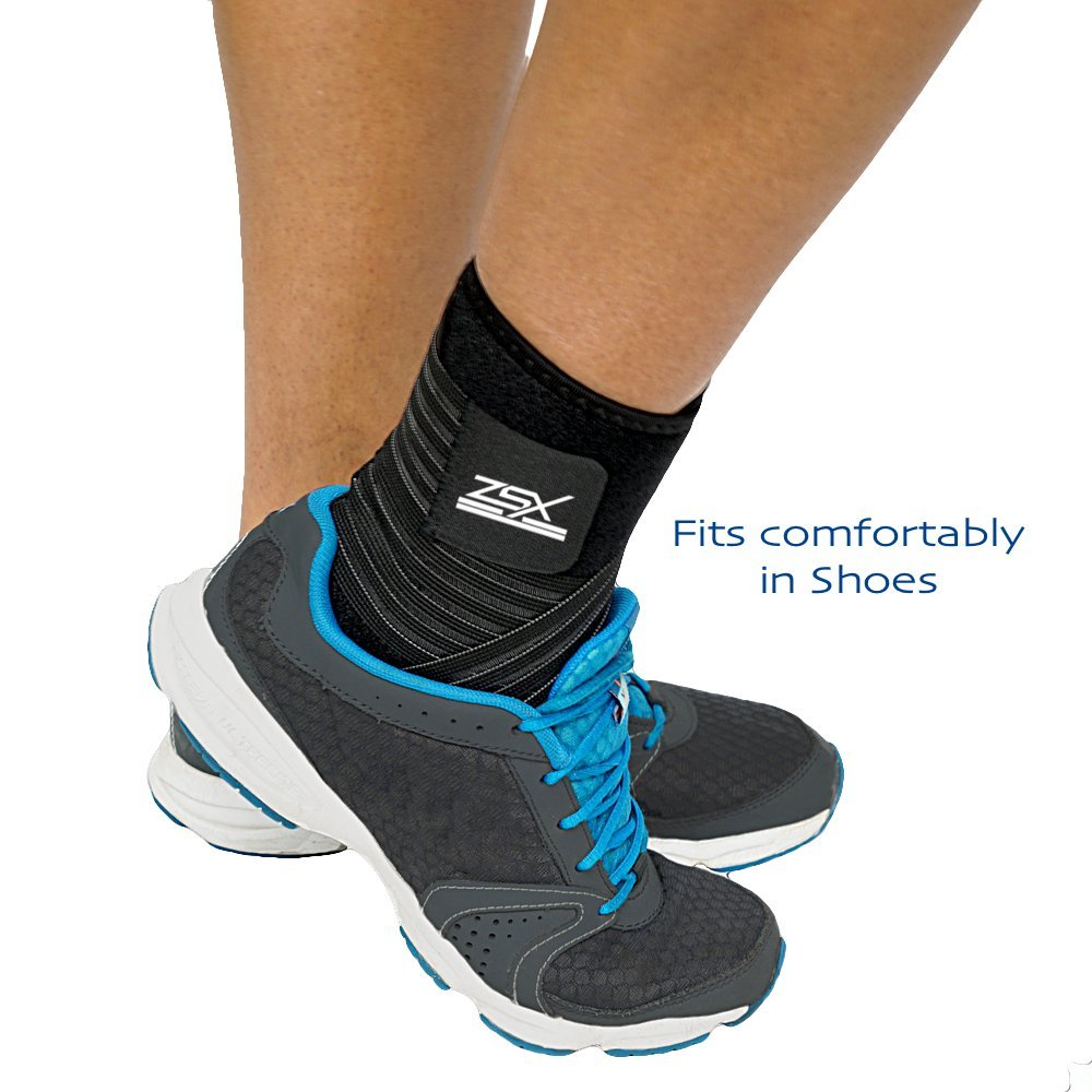 Ankle Brace (PAIR) with Bonus Straps, for Ankle Support, Plantar Fasciitis, or Swollen Ankles, One Size Fits Most, By ZSX SPORT (Foot Size - Reg) by ZSX (Image #2)
