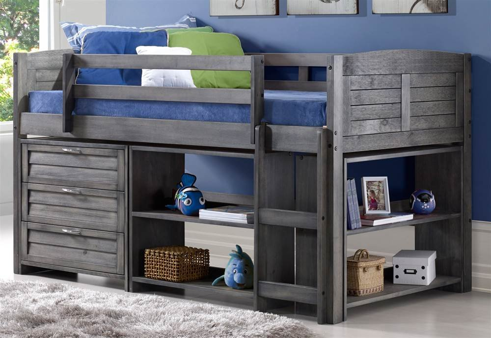 Donco Kids Louver Modular Low Loft Bed Combo B, Twin, Antique Grey by DONCO KIDS
