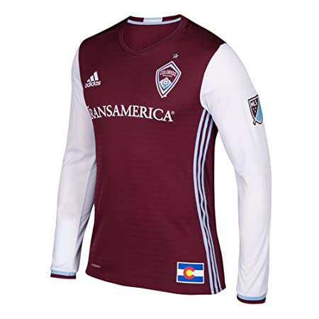 e0f7e4f2278 Amazon.com : MLS Men's Colorado Rapids adidas Maroon Long Sleeve Authentic  Jersey : Sports & Outdoors