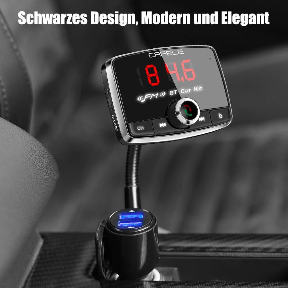 Bluetooth 5.0 con schermo LED da 1,4 AUX adattatore con porta USB da 2,4 A modalit/à EQ nero Trasmettitore FM per auto lettore MP3 wireless per BT scheda TF trasmettitore autoradio
