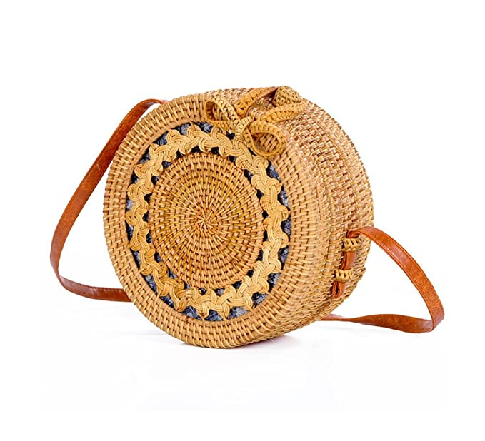 Natural Eco-Friendly Handwoven Straw Weave crossbody bag