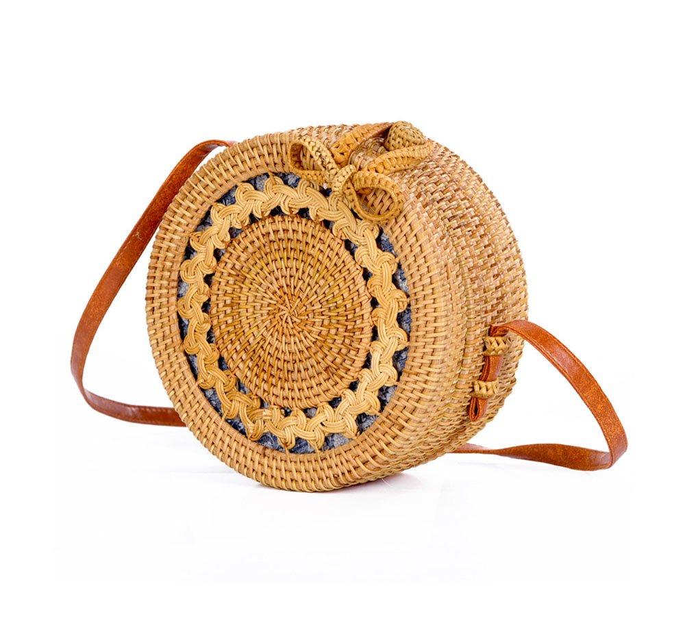 Women s Rattan Handbags Cross- body Bags Shoulder Messenger Bag Beach  Handwoven Natural Sun flower f6d35fd6bbca