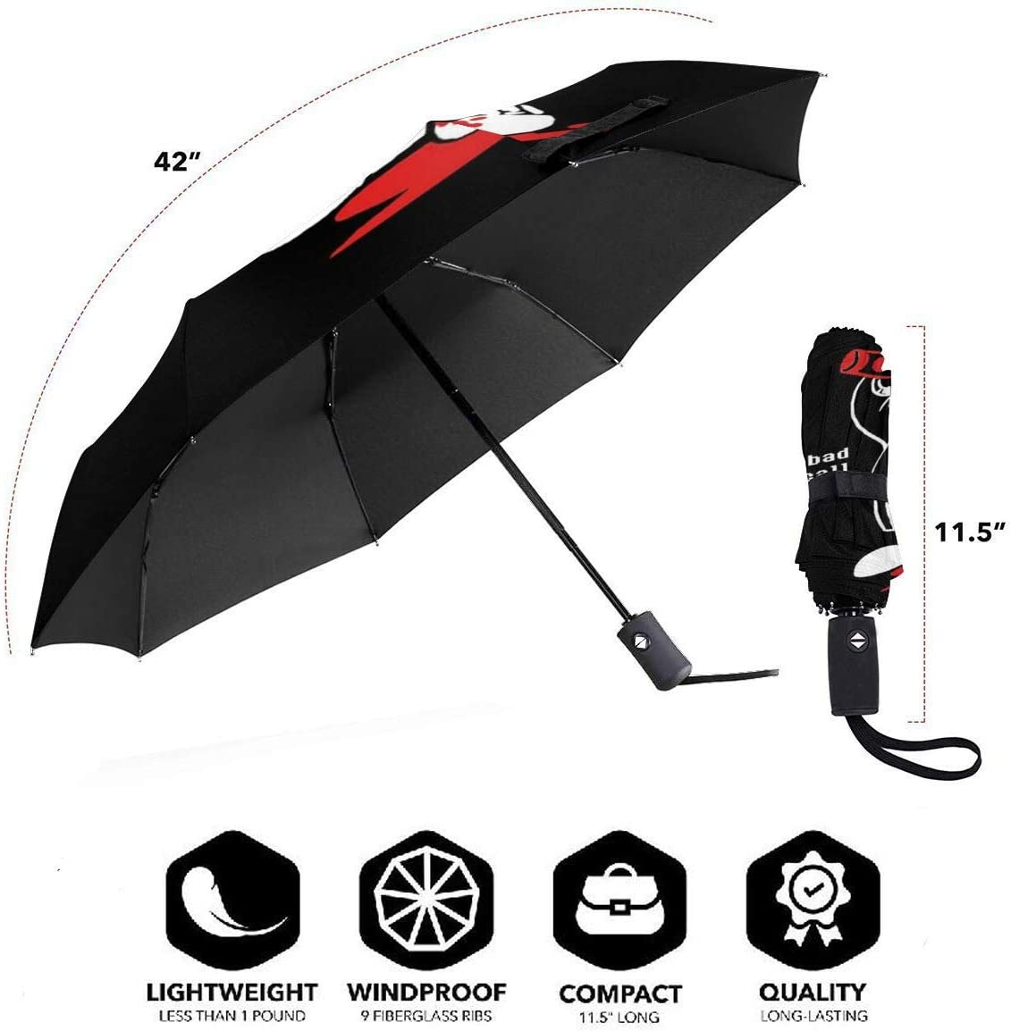 Undertale For A Bad Time Sans Windproof Compact Auto Open And Close Folding Umbrella,Automatic Foldable Travel Parasol Umbrella