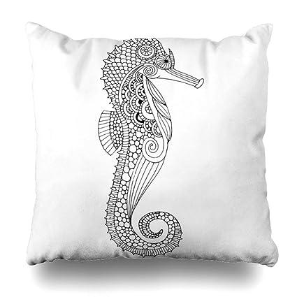 Amazon com: Ahawoso Throw Pillow Cover Blue Ocean Sea Horse