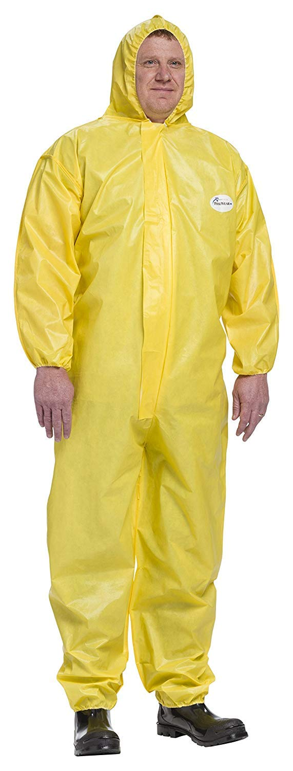 Large Yellow Case of 25 West Chester 3678B//L PosiUB Plus Yellow Coverall Hood