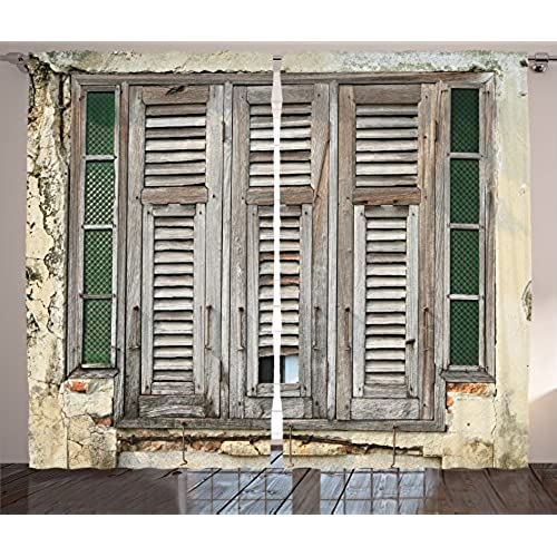 Ambesonne Shutters Decor Collection, Aged Weathered Wooden Window Blinds  Rough Cracked Wall Vintage Home Decoration, Living Room Bedroom Curtain 2  Panels ...
