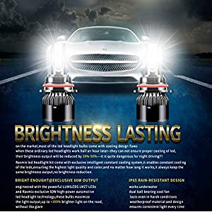 LED Headlight Bulbs 9007/HB5 All-in-one Conversion Kit High/Low Beam Extremely Bright 6500K Cool White 6400 Lumens by Ravmix, 2-Years Warranty