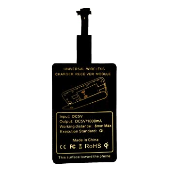 Qprods - Ultra Delgado Universal QI Cargador Inalámbrico Película de Receptor para Micro-USB Móvil Android. Negro.1000 ma(narrow up)