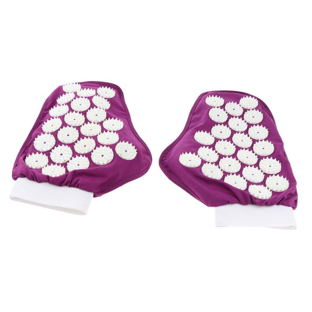 Homyl 1 Pair Spiky Pressure Point Reflexology Acupuncture Massage Gloves Massager Purple Black - Purple by Homyl (Image #8)