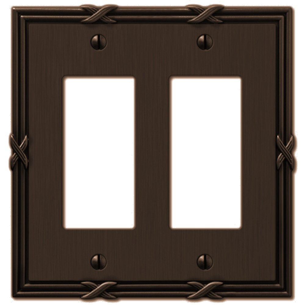 Amerelle 44RRVB Ribbon and Reed 2 Rocker-GFCI Wallplate, Aged Bronze
