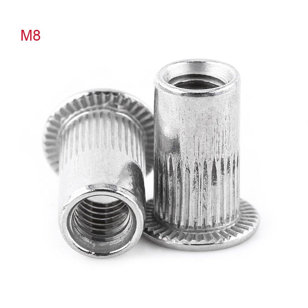 Flat Head Metric Threaded Blind Rivet Nut Insert Rivnut Nutsert Screw Stainless Steel M3/M4/M5/M6/M8(M8)