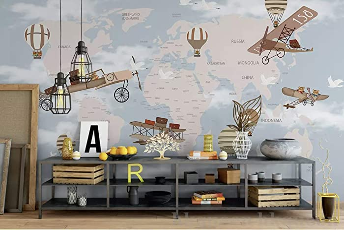 Amazoncom Murwall For Kids World Maps With Hot Air Balloon