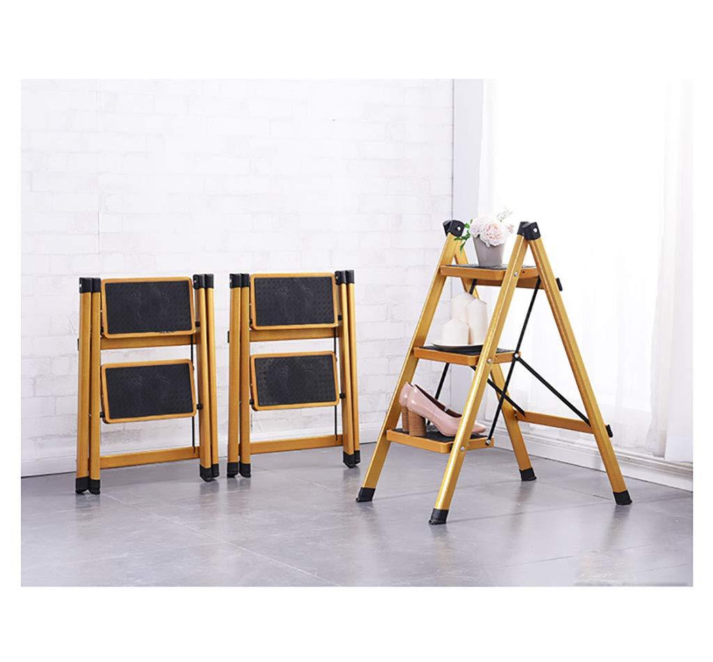 YWDT Marchepieds escamotables Or m/énage /échelle Pliante Nouvelle /échelle /échelle en Deux /étapes /échelle en Trois /étapes ustensiles de Cuisine d/écorations escabeau Pliant Taille : 46x47x60cm