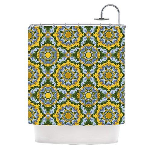 KESS InHouse Anneline Sophia Aztec Boho Yellow Blue Shower Curtain, 69 by 70-Inch