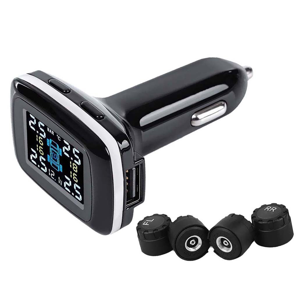 MagiDeal TPMS Tire Pressure Monitoring System,Cigarette Lighter DIY Real Time Tire Pressure Gauge with USB Charger Port and 4 External Sensors